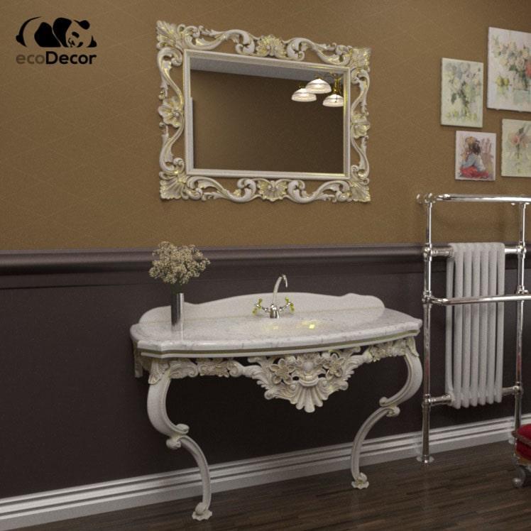 Дзеркало для ванної біле з золотому San Marino R3