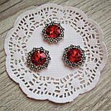 Металлический декор красный кристалл в серебряном ободке из цветов 2.3 см, фото 2