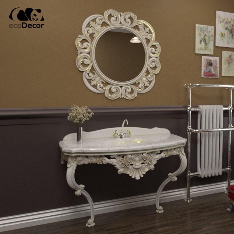 Зеркало в ванную белое с золотом Valletta