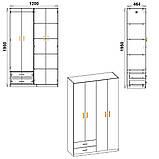Шкаф-14 ширина 1200 мм с полками и ящиками для вещей и отделом для верхней одежды, фото 2