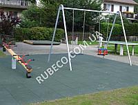 Резиновая плитка для детских площадок 50х50 см, толщина 3см. Резиновые плиты 500*500*30 мм зеленые.