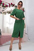 Платье летнее зеленое, прямое, свободное. американский креп