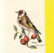 Коллекционная салфетка для декупажа Птица на ветке шиповника 5087
