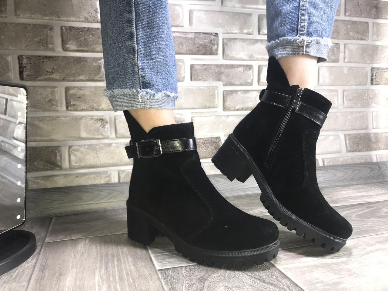 Ботинки на невысоком каблуке весна/осень замш