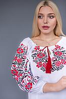 Женская вышиванка крестиком Традиция красная