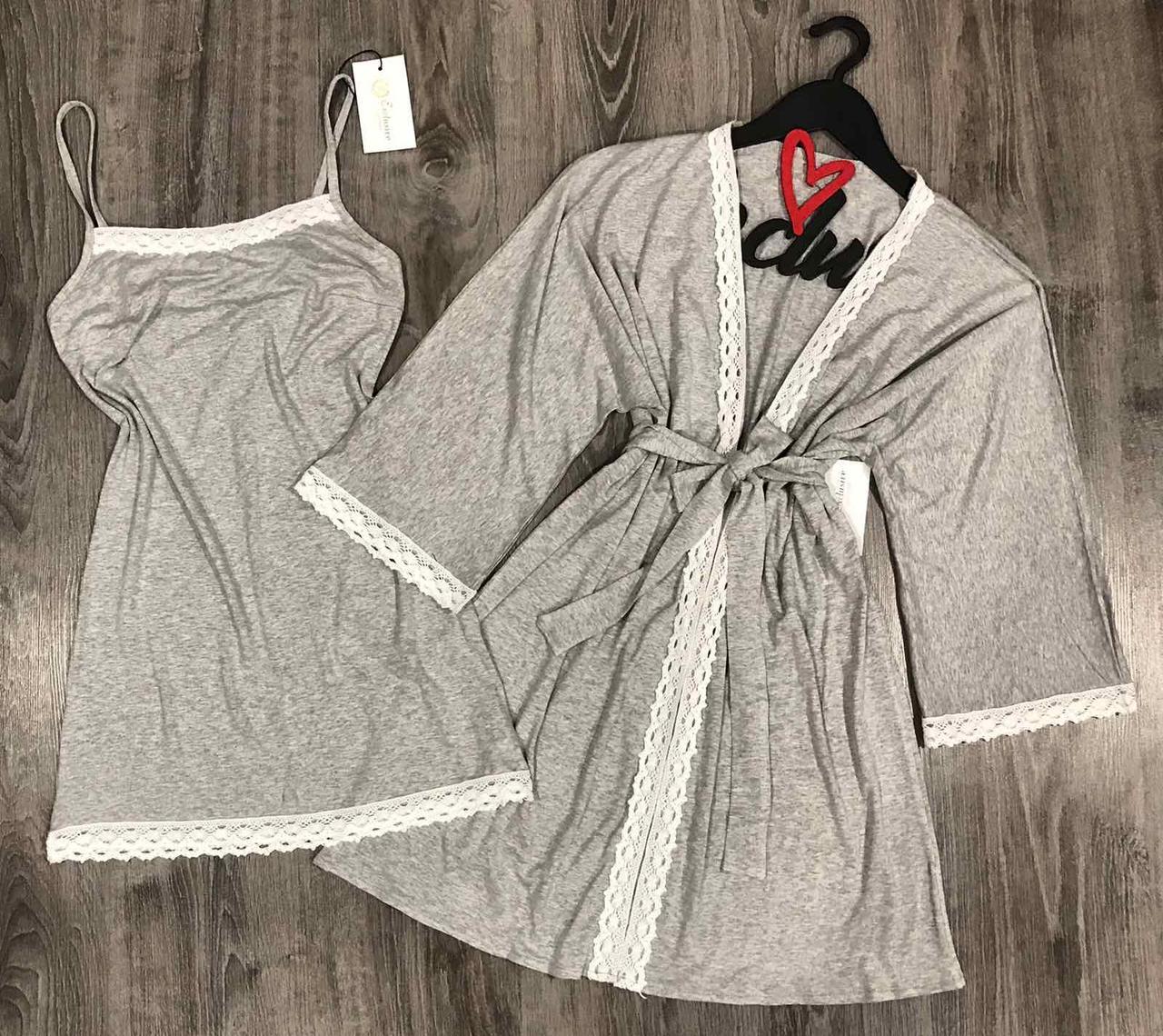 Серый комплект двойка из вискозы халат+сорочка с кружевом 003.