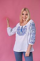 Женская вышиванка крестиком Традиция синяя