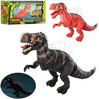 Динозавр 6630 45см, свет, ходит, подвиж.челюсти, 2вида, на бат-ке, в кор-ке, 27-14-10,5см