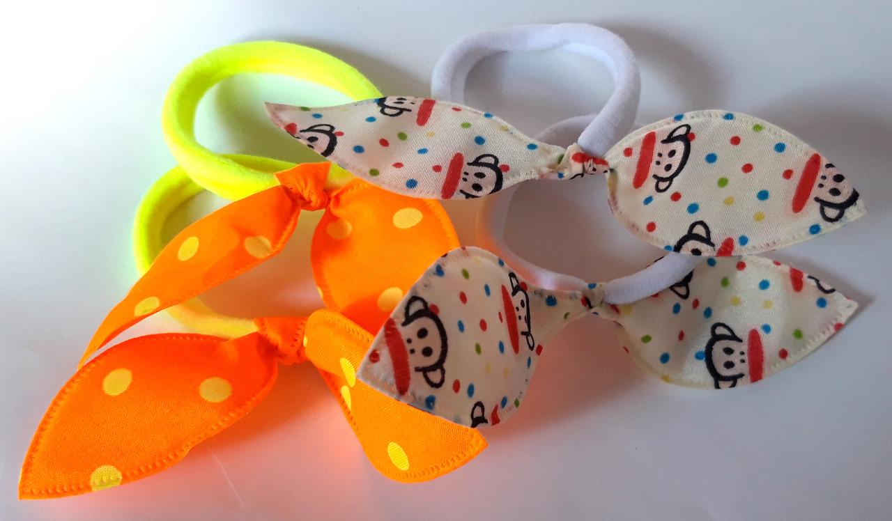 Резинки для волос солоха детские 4 шт, оранжевые и белые