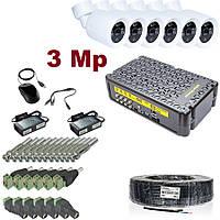 Полный комплект видеонаблюдения 6 видеокамер 3 Mp + видеорегистратор KIT-3MP-6CC