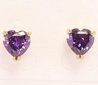 """Серьги XP Позолота 18К гвоздики """"Фиолетовый кристалл сердечко в оправе с усилением"""""""