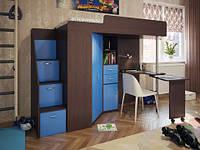 Кровать-чердак с раскладным столом, лестницей комодом и шкафом (80х190) Эверест ДСП 16 мм