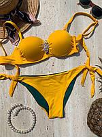 Стильный,модный раздельный женский купальник с брошкой 36/44