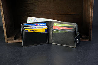 Портмоне класика на 6 карток із застібкою Краст Чорний, фото 3