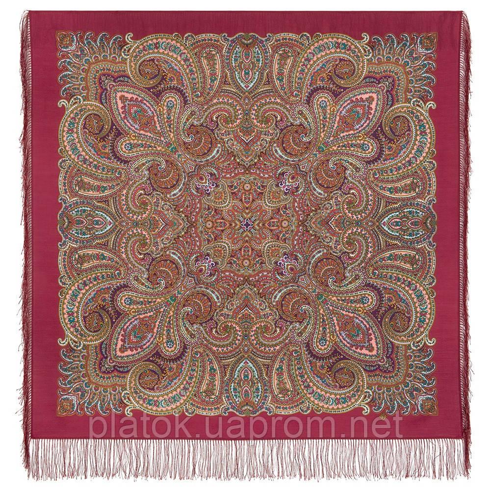 В ожидании праздника 1895-5, павлопосадский платок шерстяной с шелковой бахромой