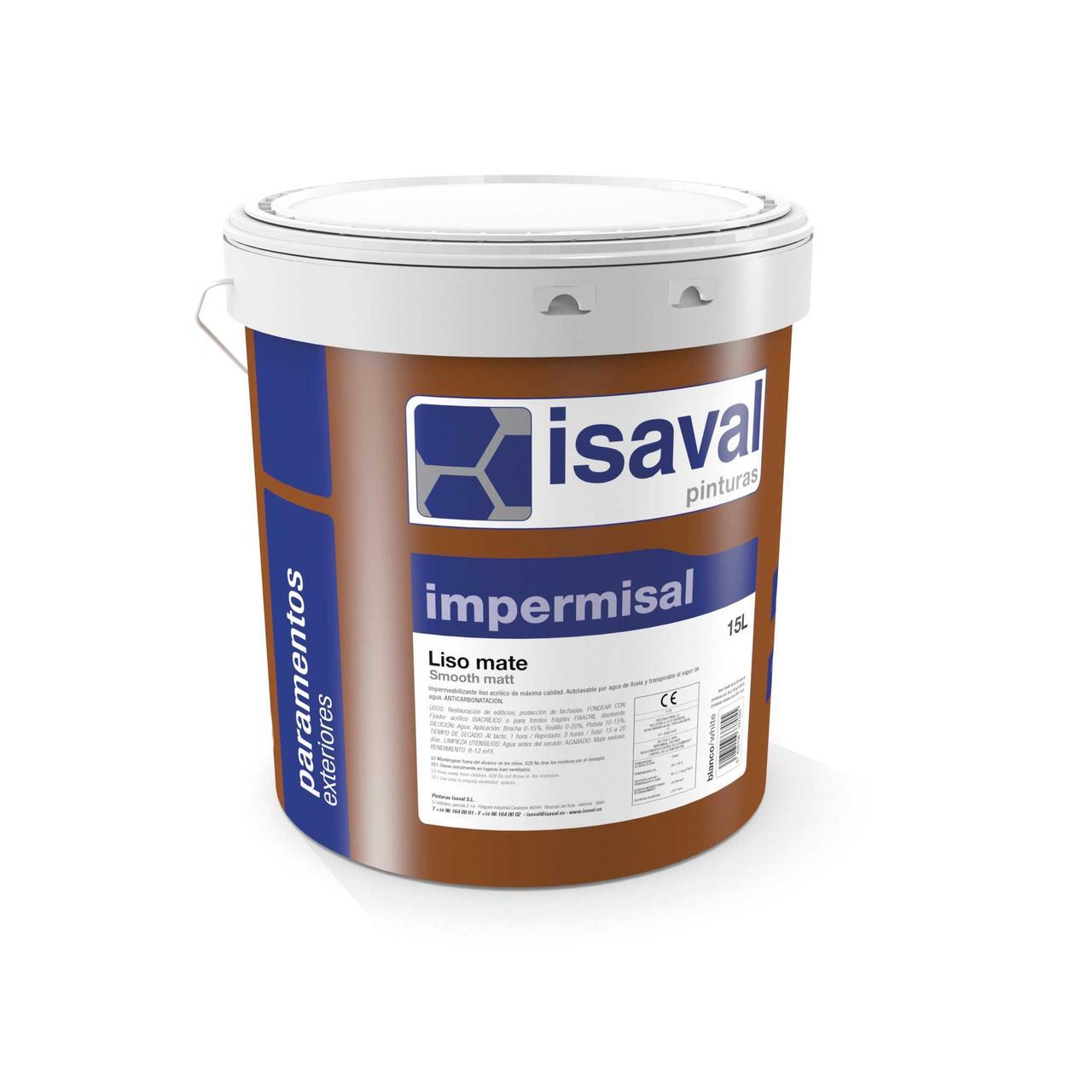 Фасадная гидроизолирующая краска Импермисаль Лисо ISAVAL 4л≈40м²/слой