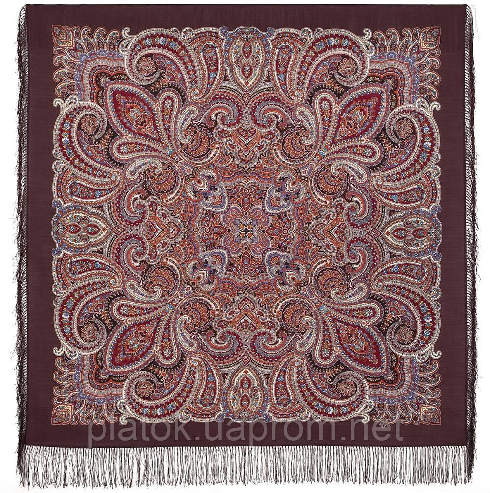 В ожидании праздника 1895-16, павлопосадский платок шерстяной с шелковой бахромой
