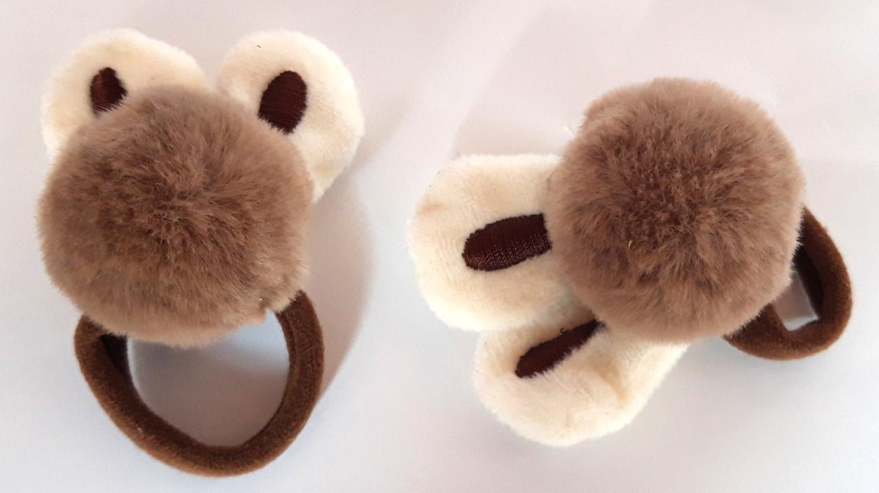 Детские резинки для волос пушистые 2 шт, коричневые