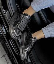 Женские кроссовки Alexander McQueen Oversized Black Space Galaxy Лакированные Александр Маккуин черные, фото 3