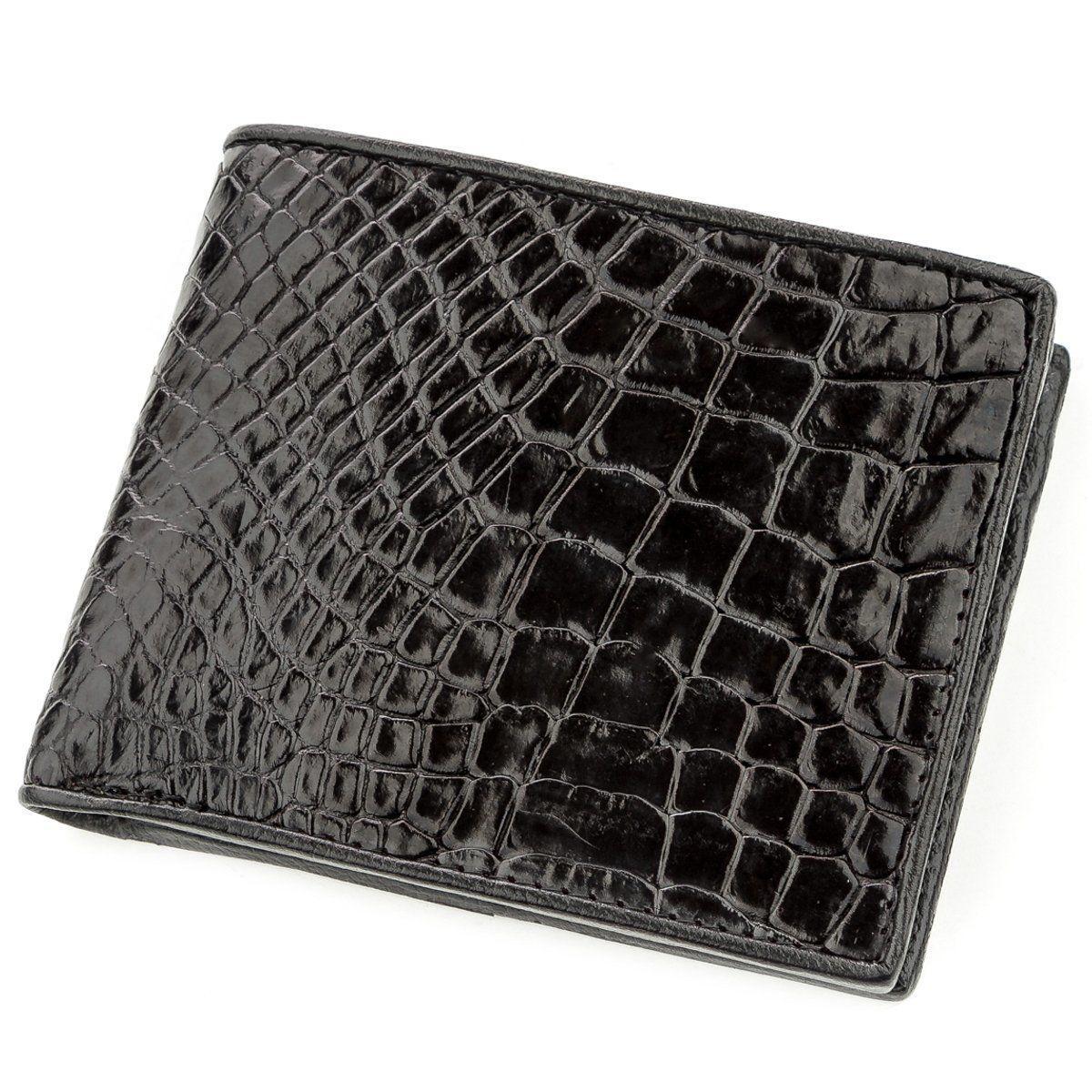 Портмоне CROCODILE LEATHER 18528 из натуральной кожи крокодила Черное, Черный