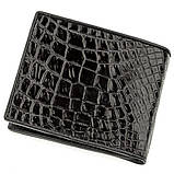 Портмоне CROCODILE LEATHER 18528 из натуральной кожи крокодила Черное, Черный, фото 2