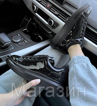 Женские кроссовки Alexander McQueen Oversized Black Space Galaxy Лакированные Александр Маккуин черные, фото 2