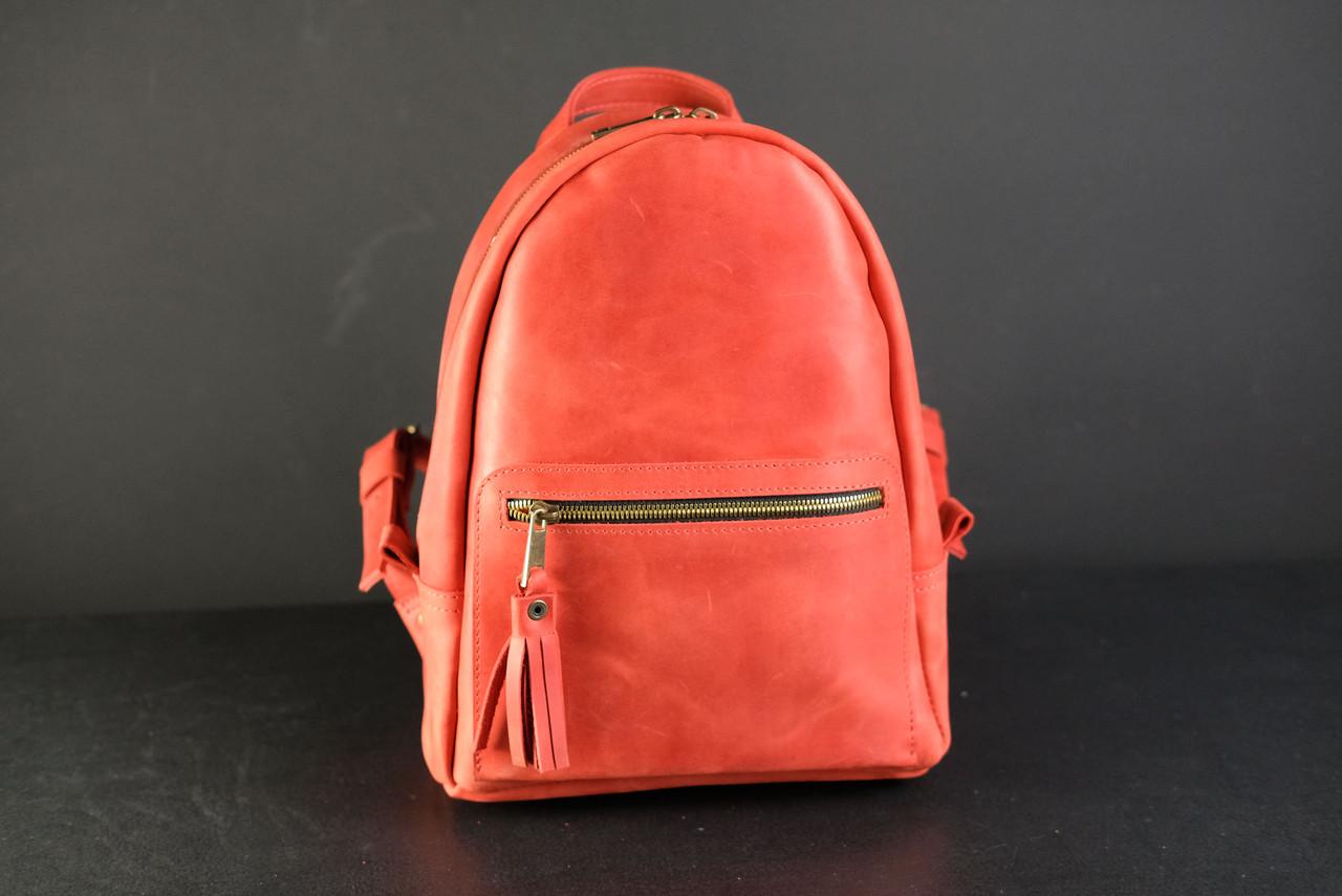 Женский кожаный рюкзак Лимбо, размер мини Винтажная кожа цвет красный
