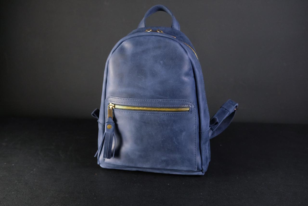 Женский кожаный рюкзак Лимбо, размер мини Винтажная кожа цвет синий