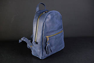 Женский кожаный рюкзак Лимбо, размер мини Винтажная кожа цвет синий, фото 2