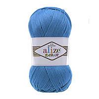 Хлопковая пряжа Ализе Бахар BAHAR синего цвета 611