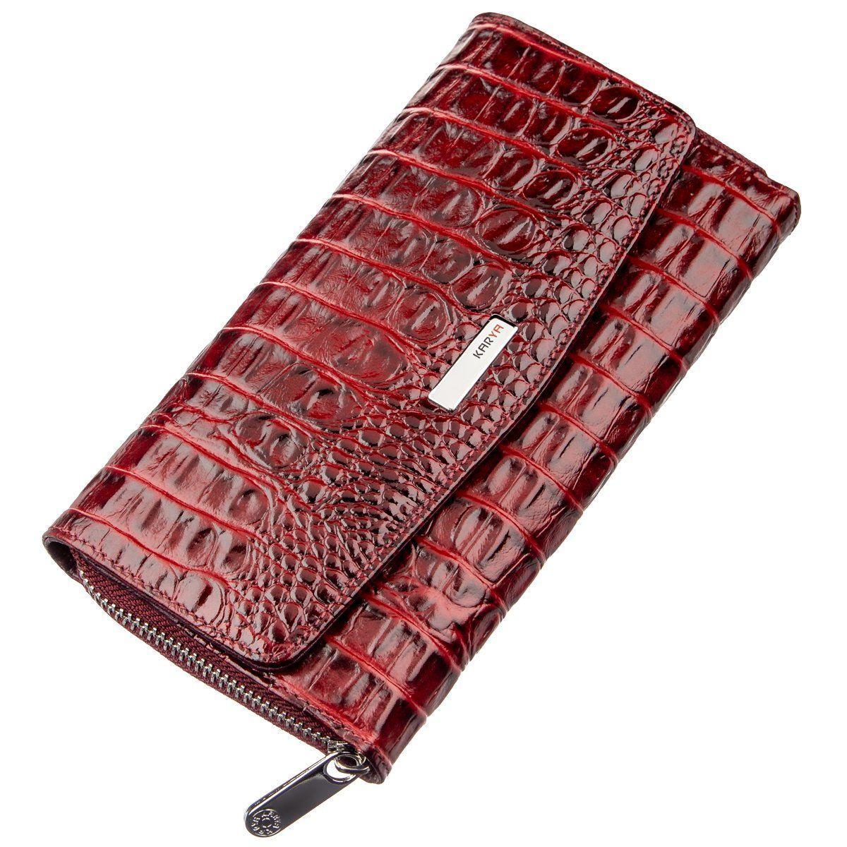 Кошелек женский KARYA 17353 кожаный Бордовый, Бордовый