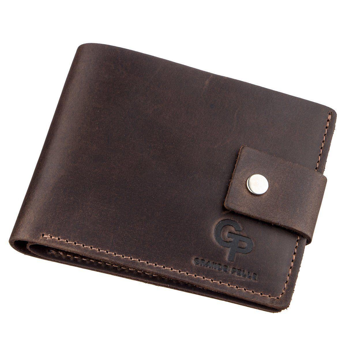 Надежное мужское портмоне в винтажном стиле GRANDE PELLE 11229 Коричневое, Коричневый