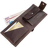 Надежное мужское портмоне в винтажном стиле GRANDE PELLE 11229 Коричневое, Коричневый, фото 3