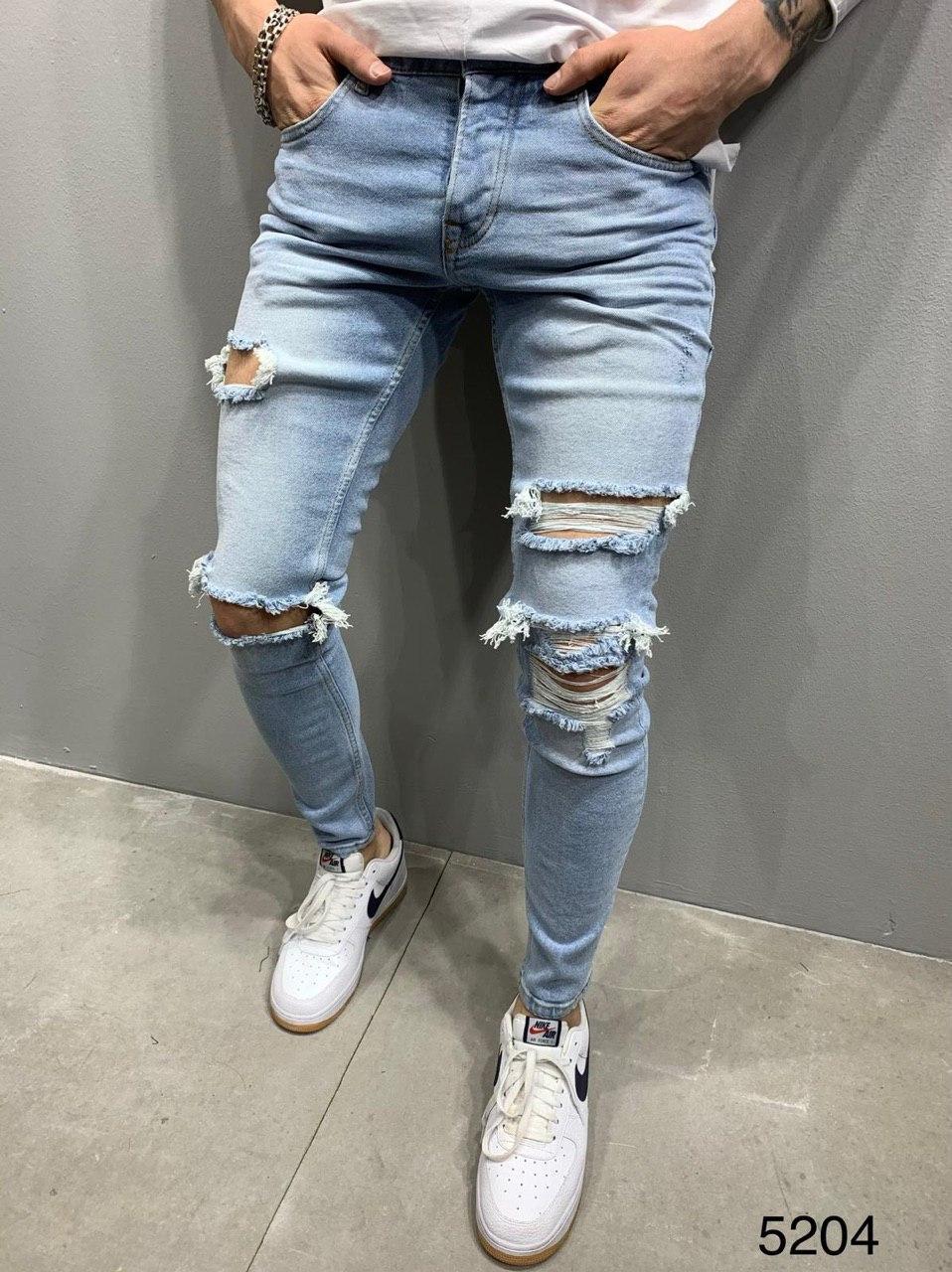 Мужские джинсы рваные голубые 2Y Premium 5204