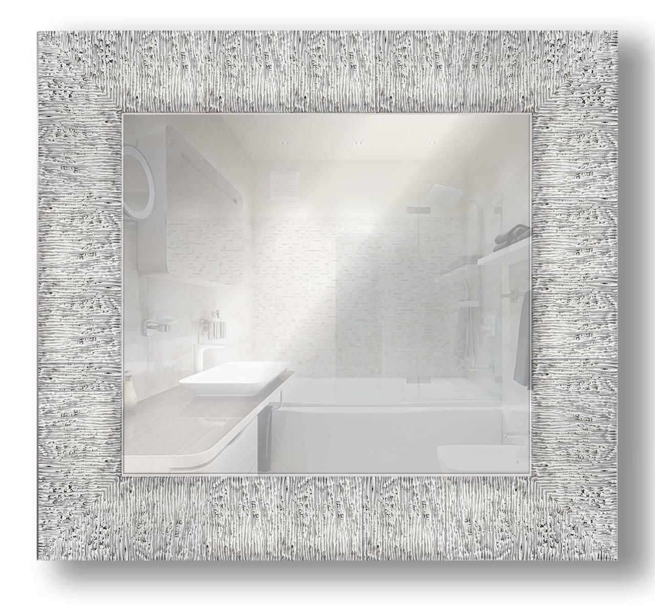 Зеркало настенное в раме Factura Textured silver 51х51 см серебро