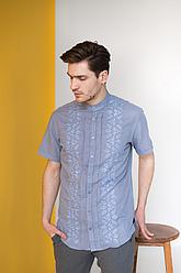 Мужская рубашка вышивка с коротким рукавом Тристан