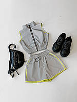 Женский светоотражающий костюм шорты и безрукавка на молнии 66KO598E, фото 1