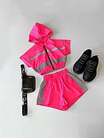 Женский неоновый летний костюм с шортами и топом со светоотражением 66KO602E, фото 1