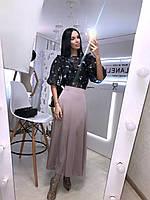 Длинная шелковая женская юбка расклешенная 20JU384, фото 1