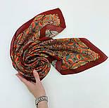 Пасьянс 796-6, павлопосадский платок из вискозы с подрубкой 80х80, фото 5