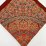 Пасьянс 796-6, павлопосадский платок из вискозы с подрубкой 80х80, фото 9