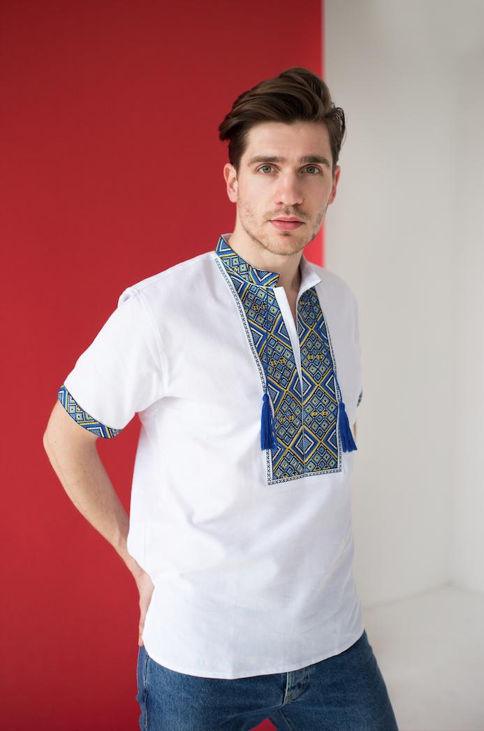 Мужские сорочки с вышивкой короткий рукав Всеволод
