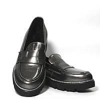 Женские кожаные туфли лоферы на меху