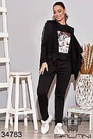 Спортивный женский костюм-тройка чёрный батал (размер 48-50, 52-54)