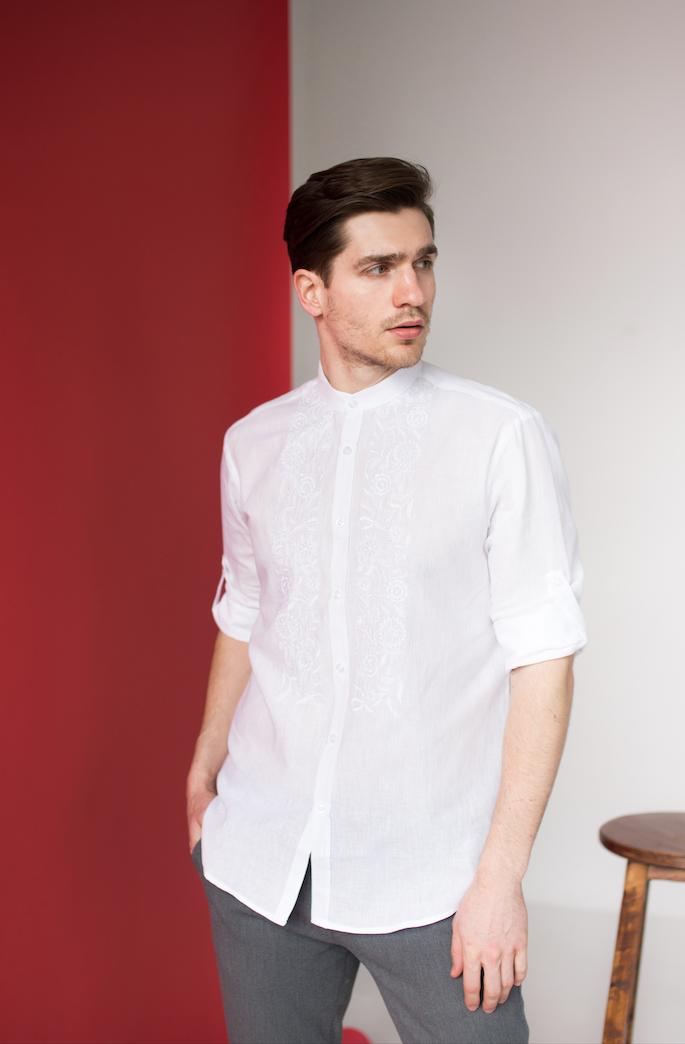 Мужские рубашки с белой вышивкой Драгомир