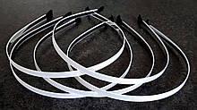 Обручи для волос заготовка 5 шт, металл 0,5 см белые