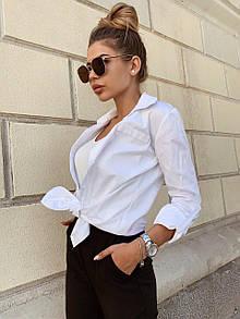 Женская белая коттоновая рубашка удлиненная 22ru356