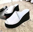 Сабо белые на платформе асимметрия, натуральная кожа (в наличии и под заказ 3-14 дней), фото 2