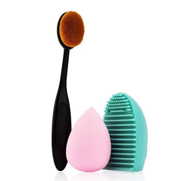 Набор для макияжа: кисть, спонж ,щетка для очистки кистей