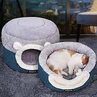 Домик лежанка для кошек собак серый премиум качество